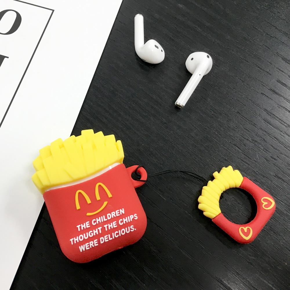 AirPods 立體造型矽膠保護套 附指環扣-薯條