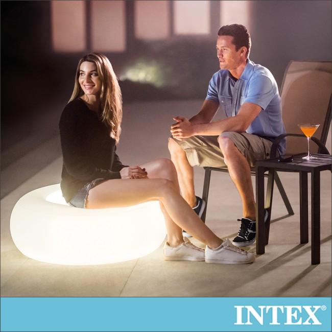 【INTEX】氛圍燈座/充氣腳墊(86x33cm)-室內戶外二用(68697)