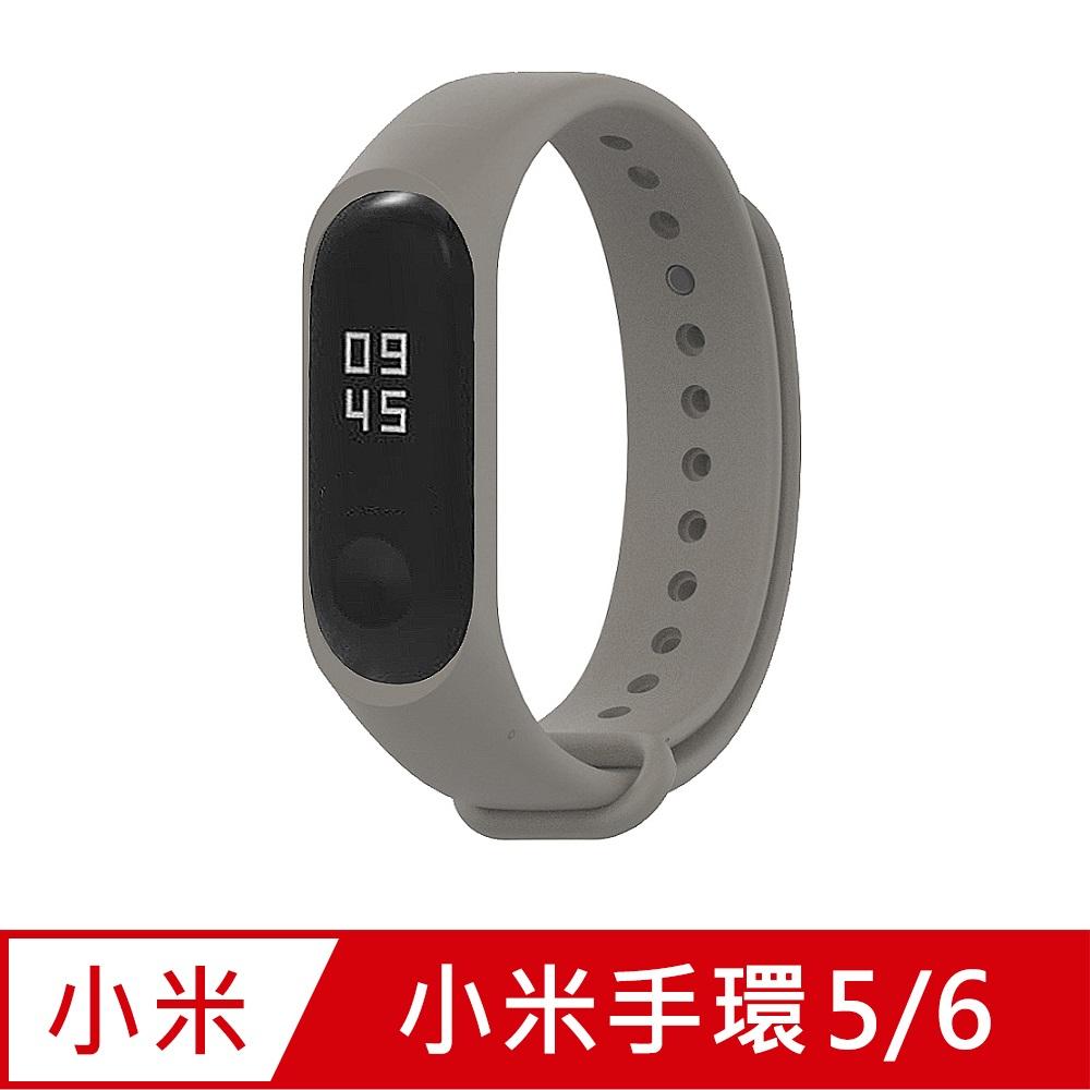 小米手環6代/5代/Amazfit華米 Band 5通用 矽膠運動替換錶帶-卡其色