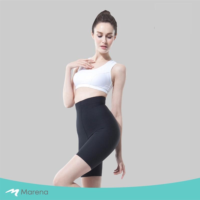 MARENA 日常塑身運動系列 輕塑高腰五分塑身褲(黑色-XS)