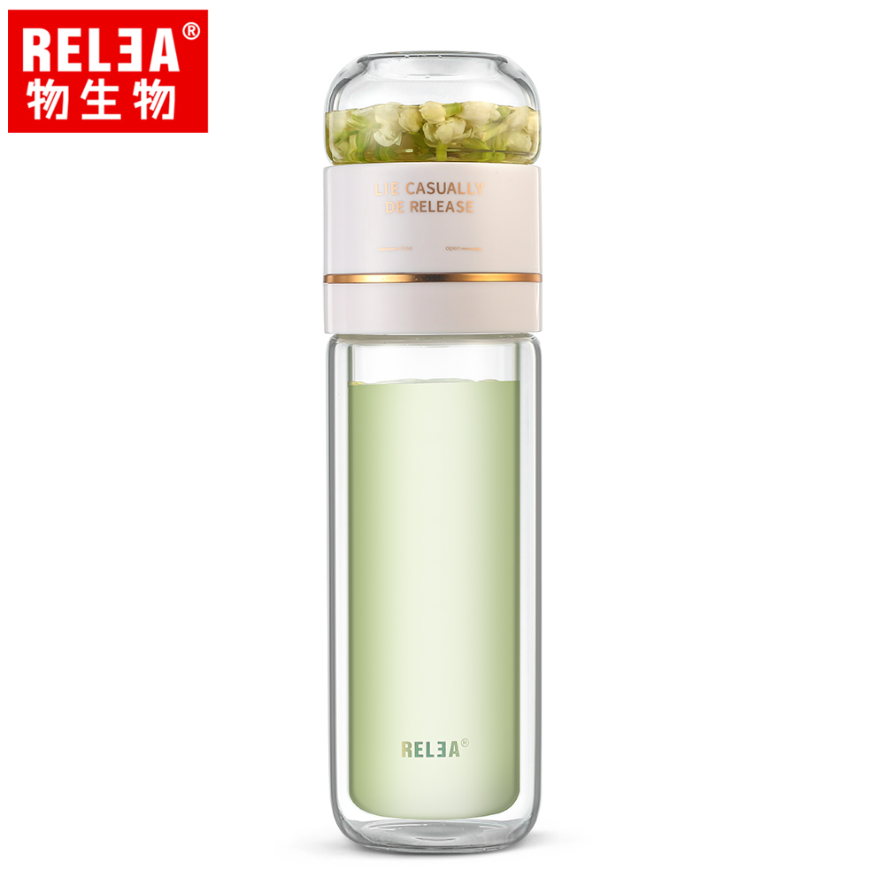 【香港RELEA物生物】300ml茶時分離式翻轉耐熱雙層玻璃泡茶隨行杯(冰晶白)