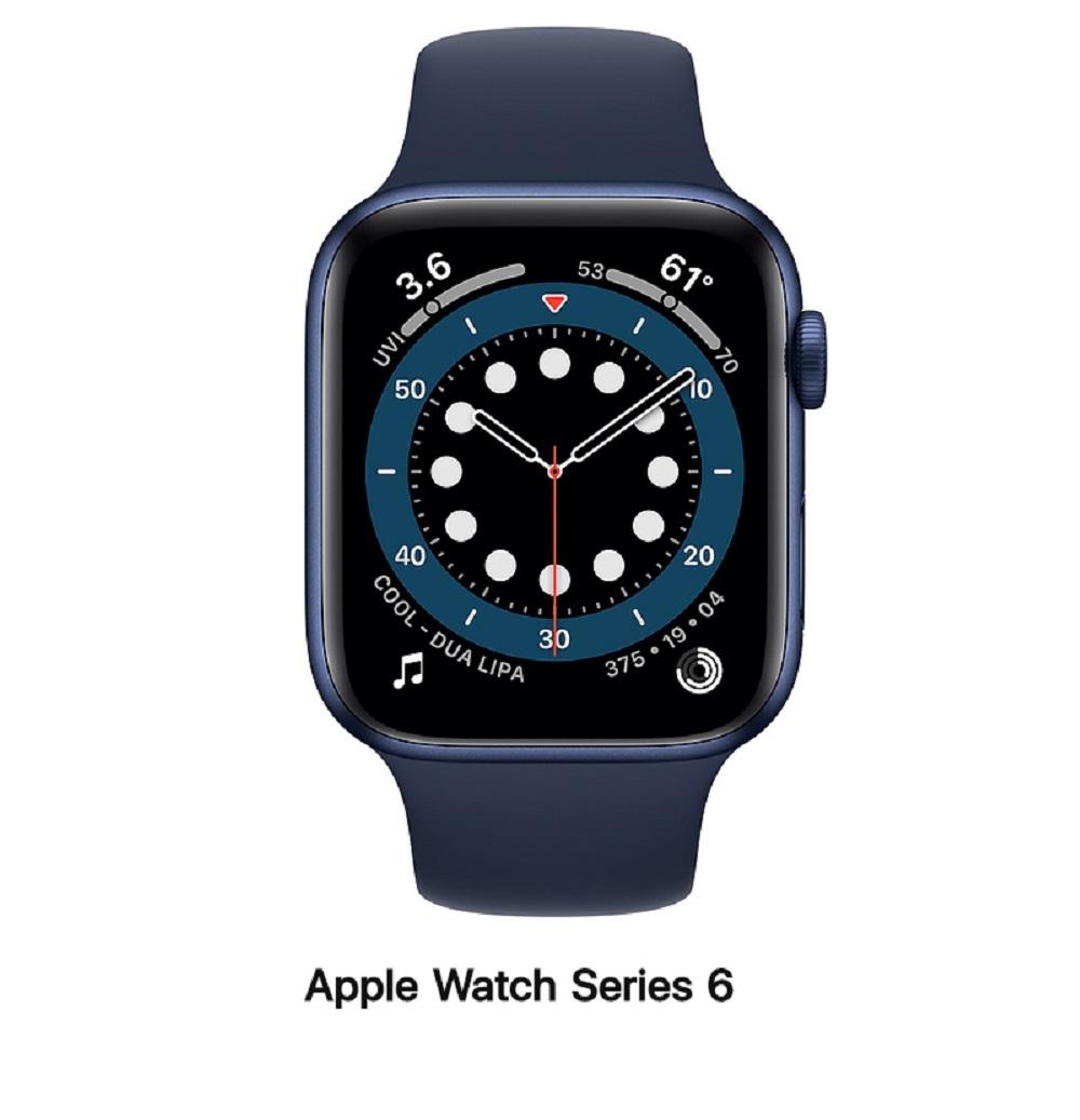 【血氧檢測】Apple Watch S6 44mm GPS版 藍鋁金屬錶殼配藍運動錶帶(M00J3TA/A)