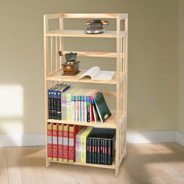 【LIFECODE】極簡風黃松木四層書架/實木置物架