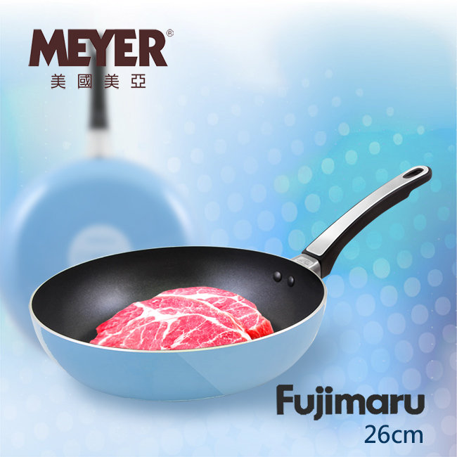 【MEYER】美國美亞Fujimaru藍珊瑚單柄不沾平煎鍋26CM(無蓋)