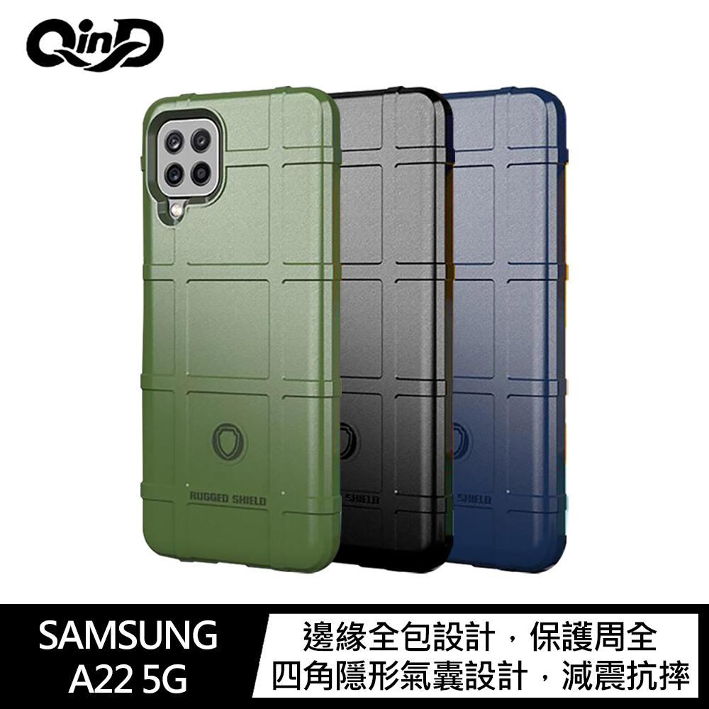 QinD SAMSUNG Galaxy A22 5G 戰術護盾保護套(軍綠)