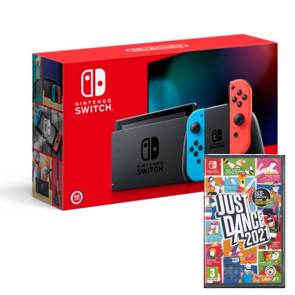 Nintendo Switch 主機 電光紅藍 (電池加強版)+舞力全開 2021 歐美版