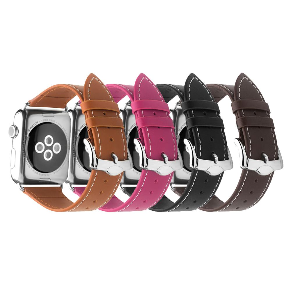 QIALINO Apple Watch (42mm) 經典二代真皮錶帶(深棕色)