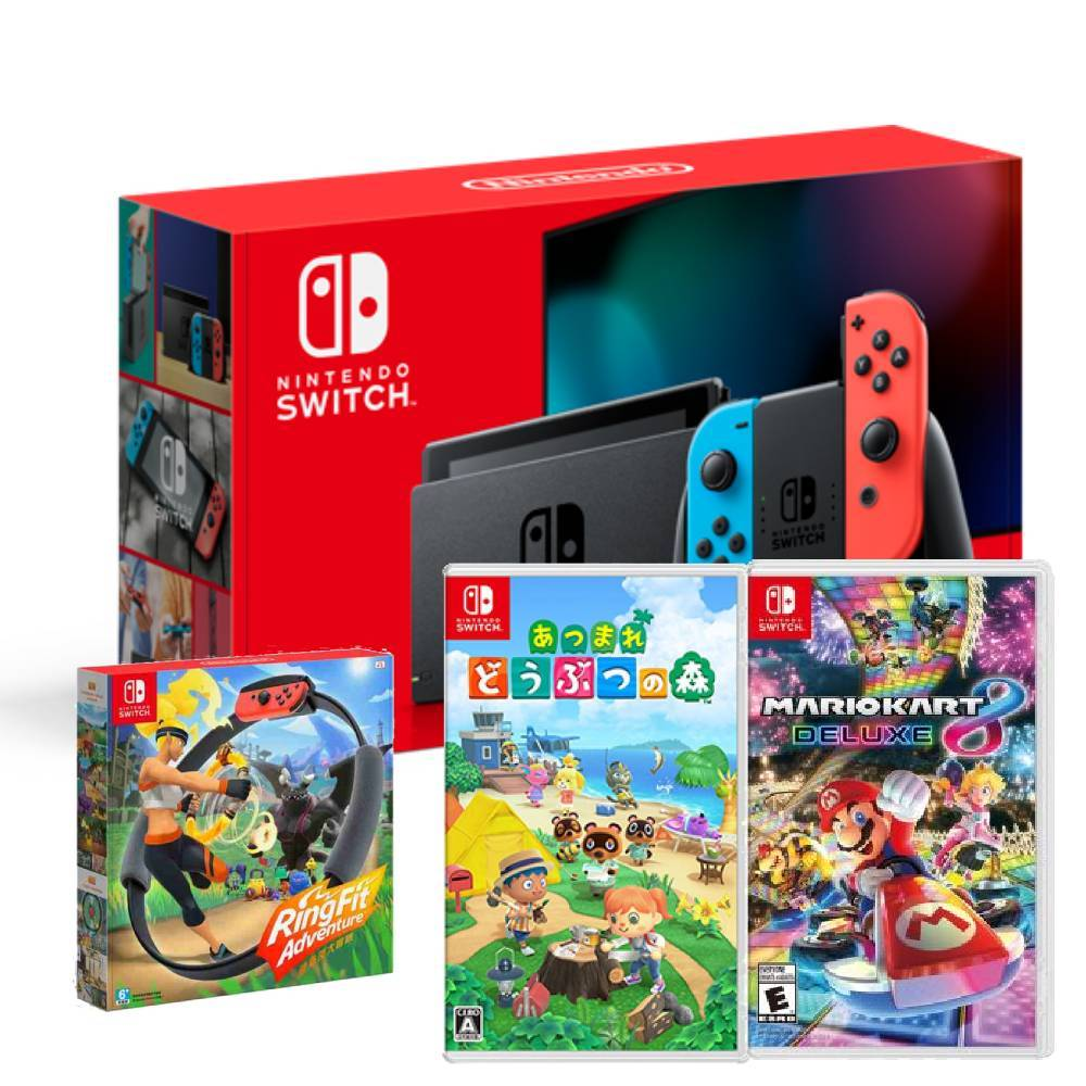 Nintendo Switch 主機 電光紅藍 (電池加強版)+健身環大冒險 同捆組+瑪利歐賽車 8 豪華版+動物森友會 中文版
