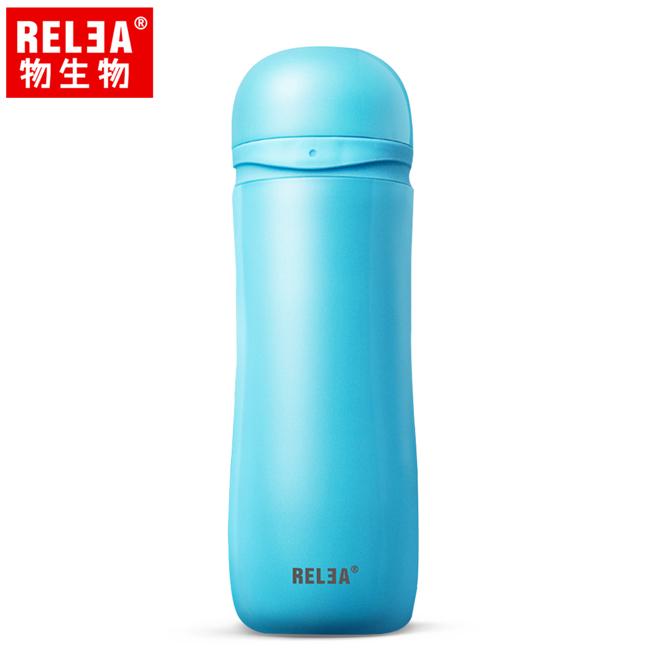 【香港RELEA物生物】330ml莉莉安彈跳蓋304不鏽鋼保溫杯(海灣藍)