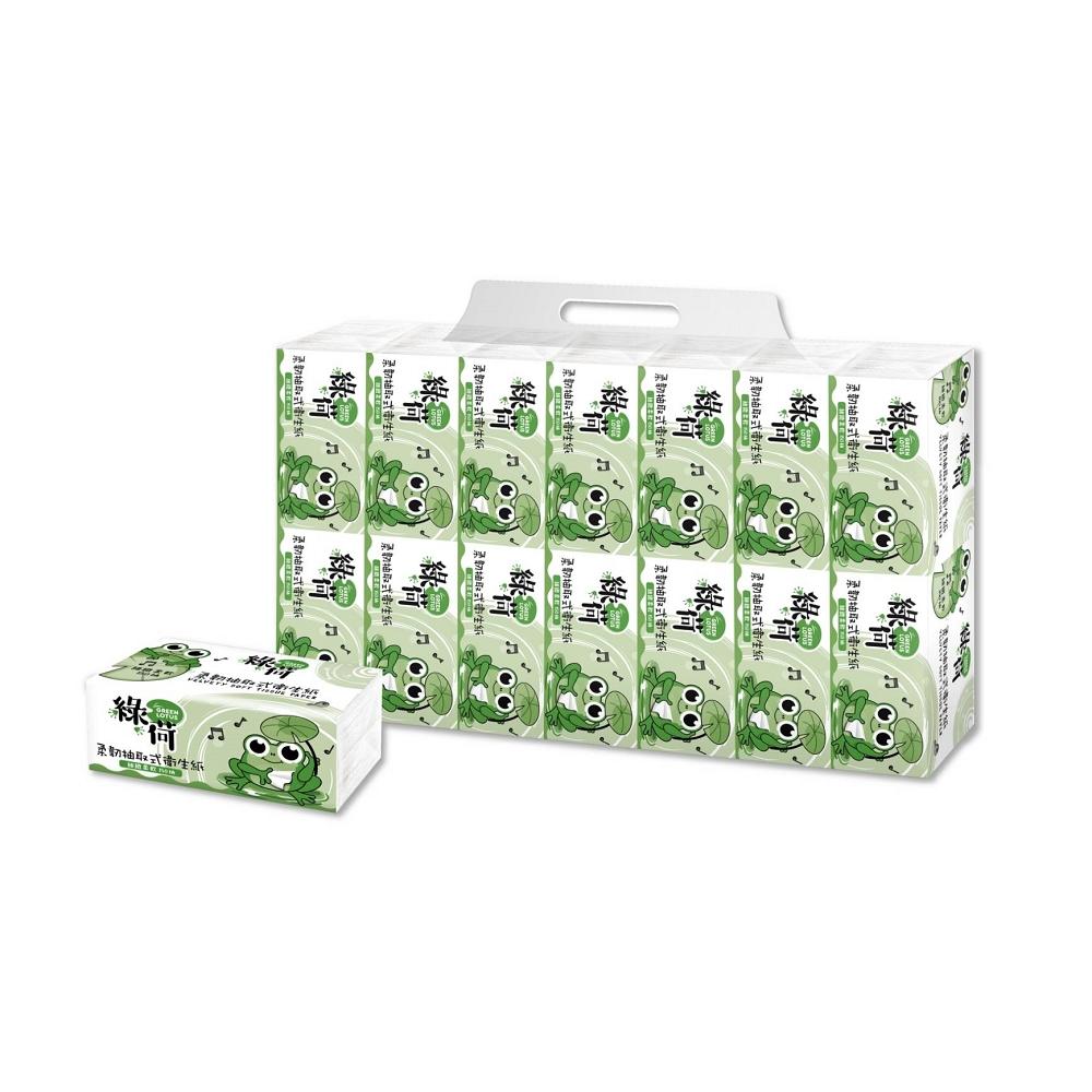 綠荷柔韌抽取式花紋衛生紙150抽84包/箱