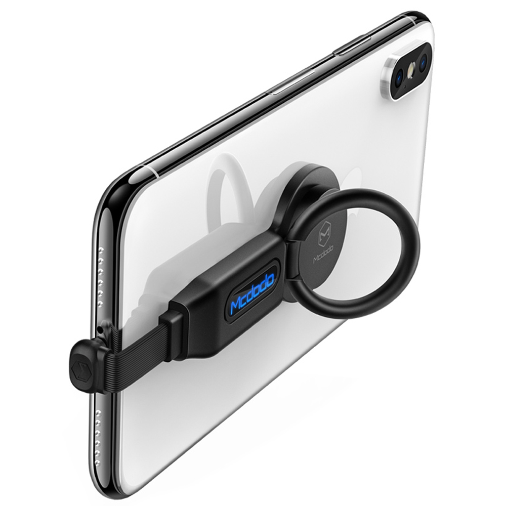 【Mcdodo台灣官方】四合一 iPhone 音頻轉接器 Lightning 線控 通話 指環扣 輝煌系列 黑色