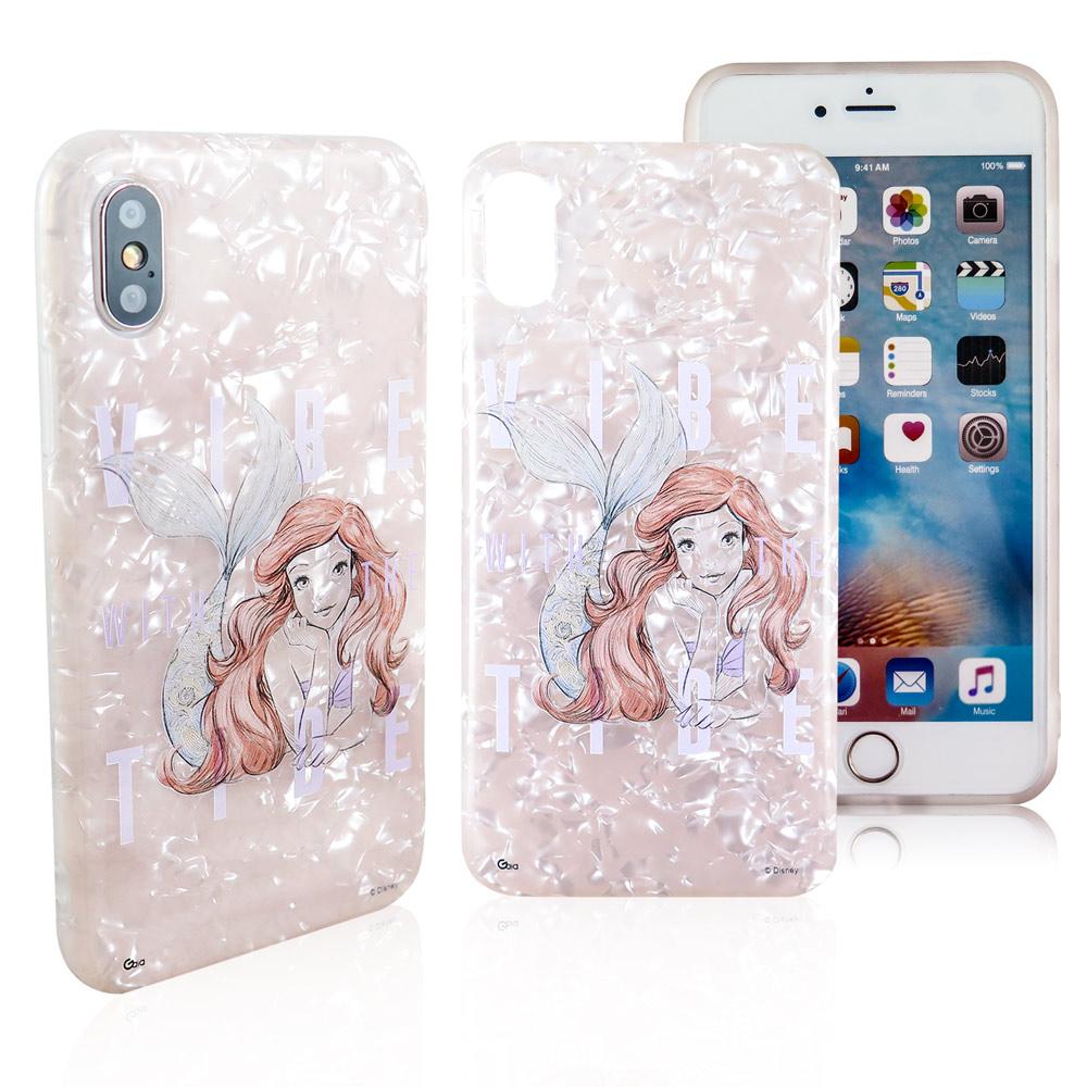 Disney迪士尼iPhone X/Xs五彩貝殼系列手機殼_素描小美人魚趴姿