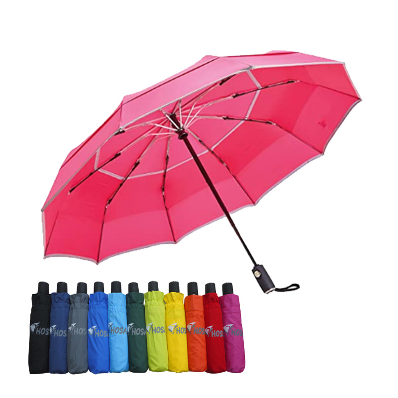 【HOSA】安全雙反光自動傘-桃紅