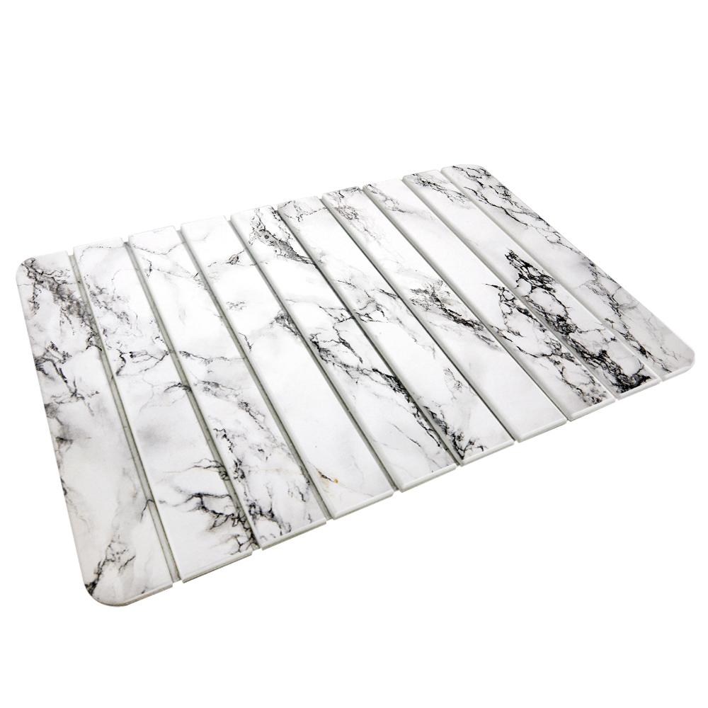 【收納王妃】(大理石-5)-自然風 折疊式珪藻土超吸水地墊60*39