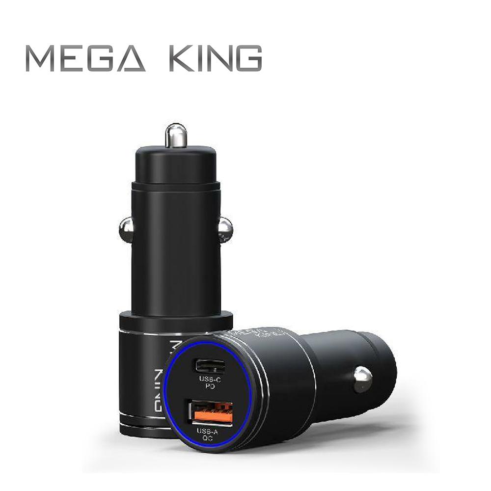 MEGA KING 雙輸出車充頭36W (A+C) PD/QC 黑