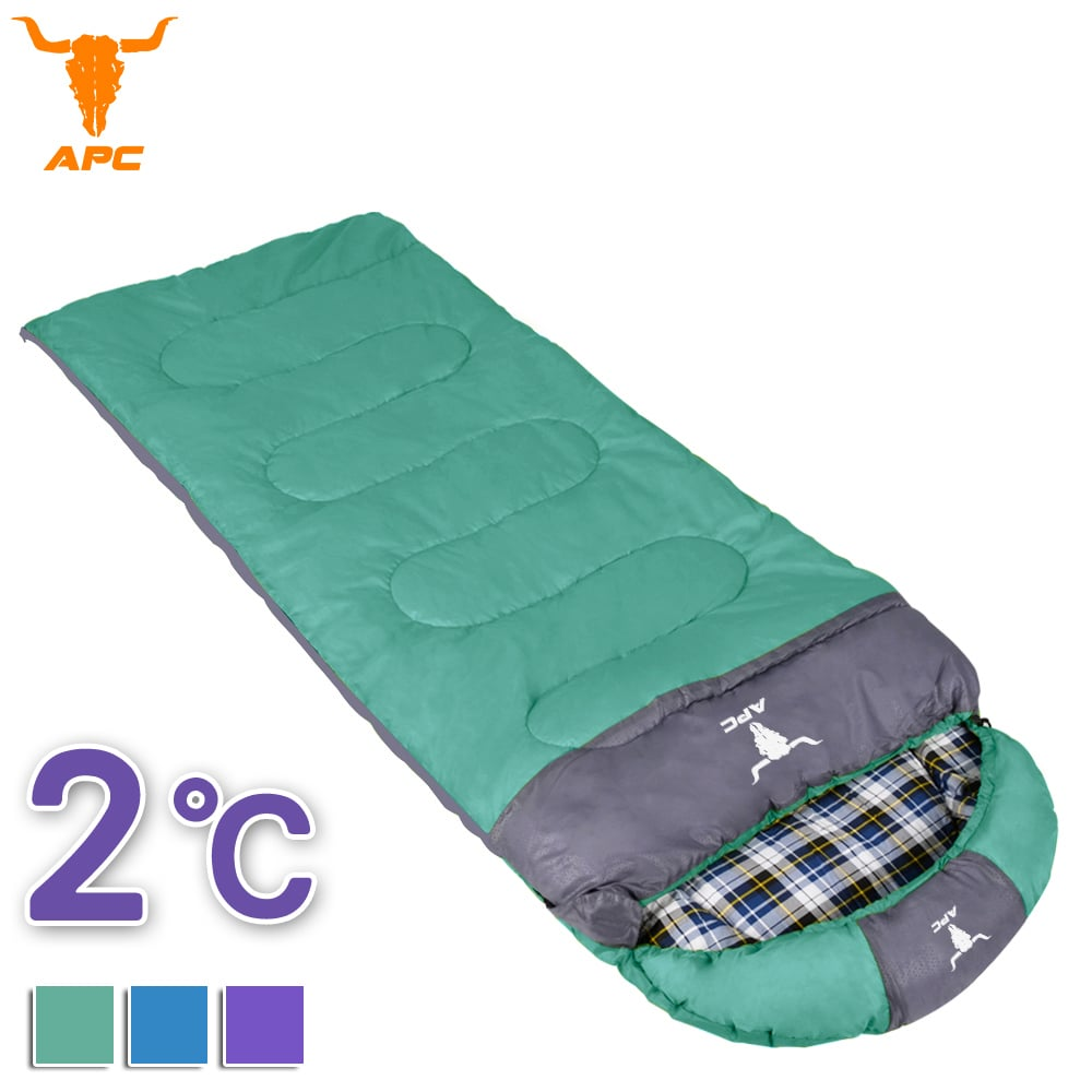 APC《純棉格子》秋冬加寬可拼接全開式睡袋-綠色