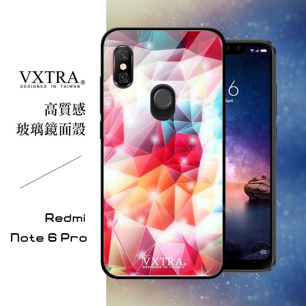 VXTRA 紅米Note 6 Pro 鋼化玻璃防滑全包保護殼(繽紛閃鑽)