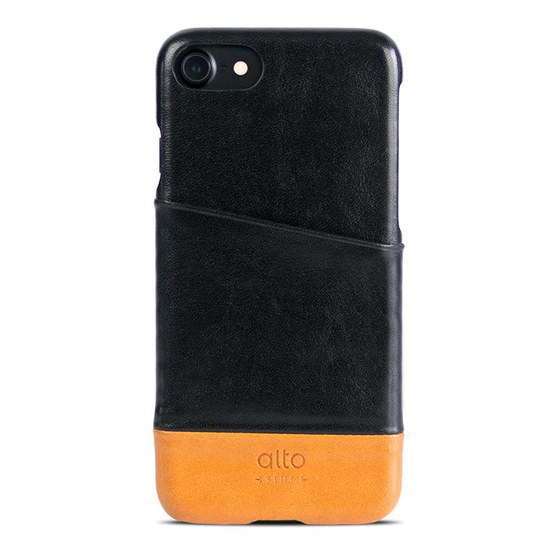 Alto iPhone 7/8 真皮手機殼背蓋,Metro(黑色/淺棕)