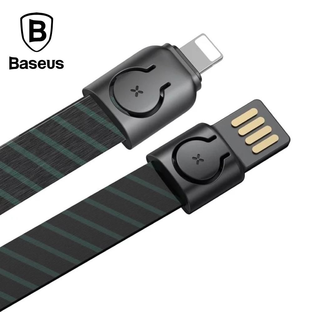 Baseus 倍思 金領掛繩傳輸線 USB For Lightning 2.4A 85cm -條紋黑