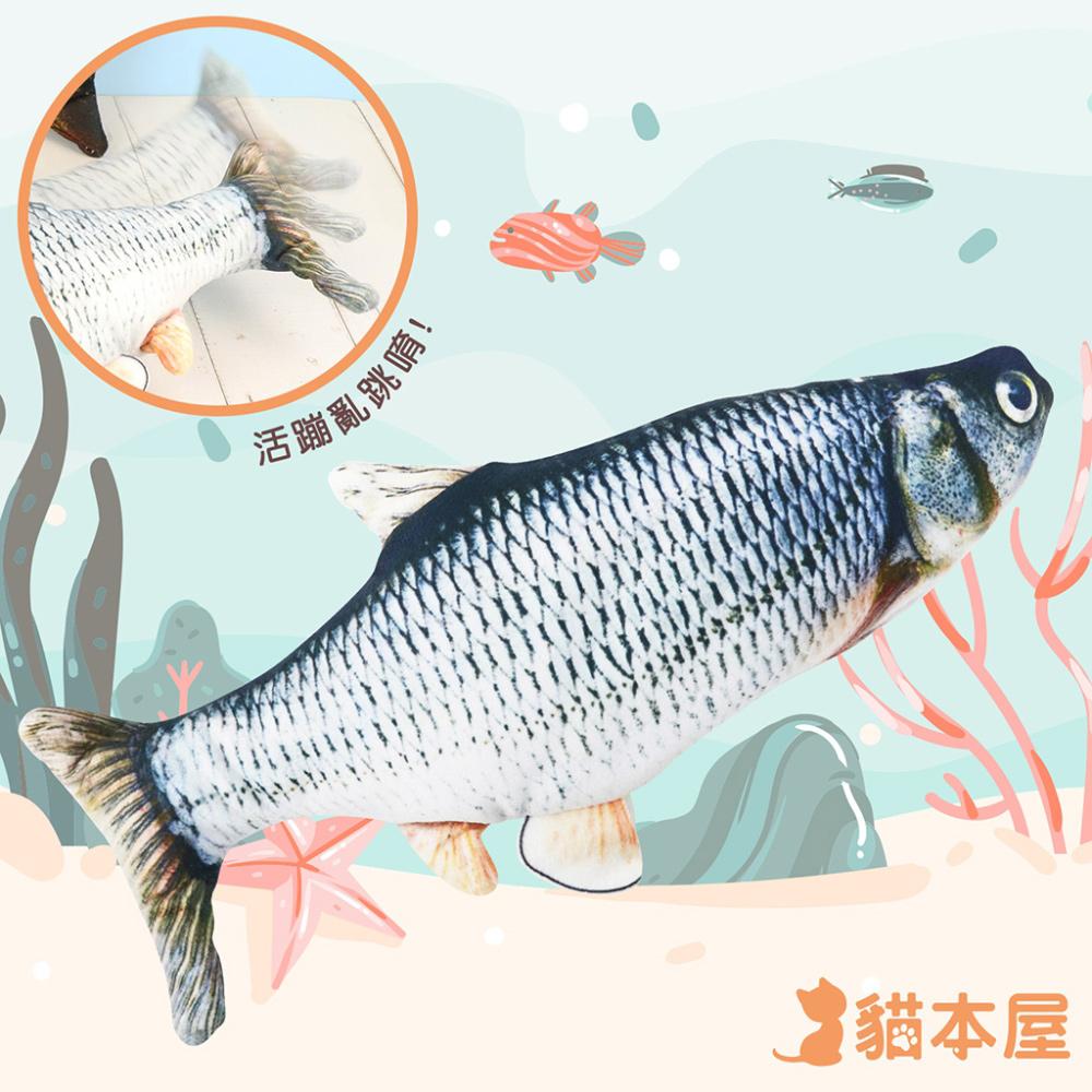 貓本屋 USB充電式 仿真電動魚 寵物絨毛玩具-草魚