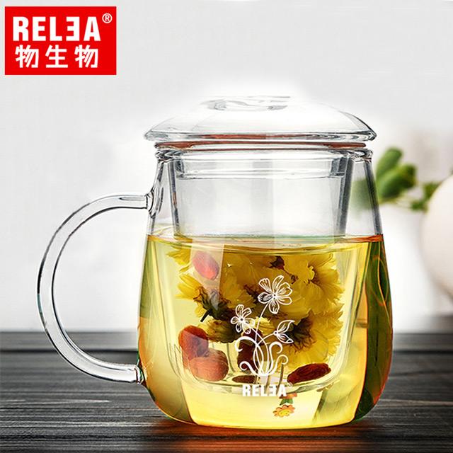 【香港RELEA物生物】500ml夕顏款耐熱玻璃泡茶杯(附濾茶器)