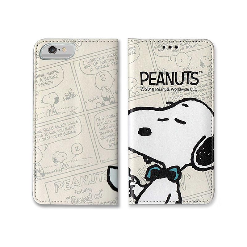 【正版授權】SNOOPY iPhone6/6s/7/8 4.7吋 彩繪翻蓋保護皮套_午茶時間