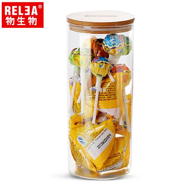 買1送1【香港RELEA物生物】950ml竹蓋長筒耐熱玻璃儲物罐