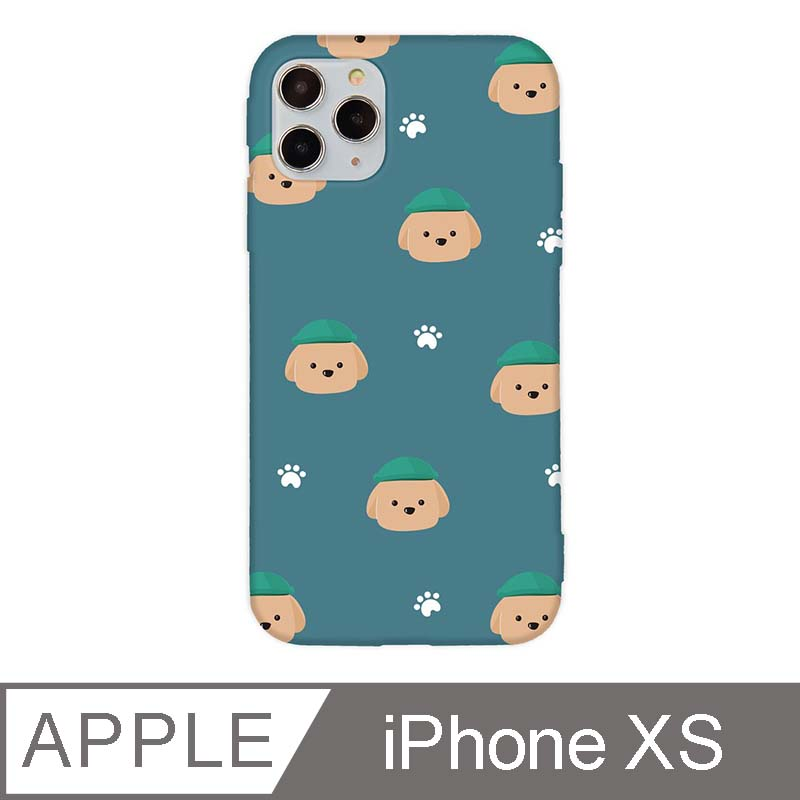 iPhone X/Xs 5.8吋 文藝貴賓狗iPhone手機殼 巧克力貴賓碎花款 青綠色