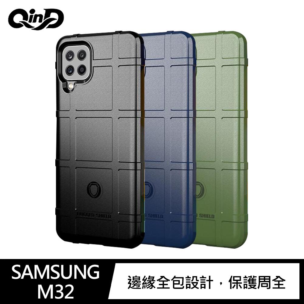 QinD SAMSUNG Galaxy M32 戰術護盾保護套(軍綠)
