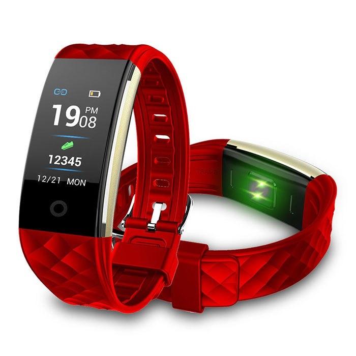 彩色螢幕心率觸控防水智能藍芽手環-紅