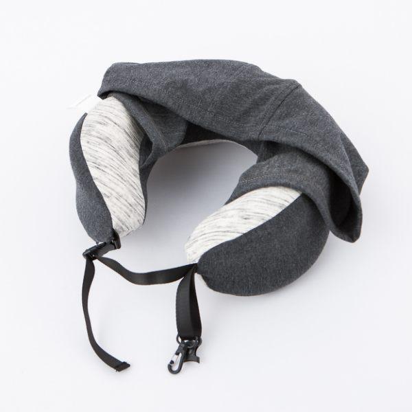 機能收合式附帽頸枕-深灰-生活工場