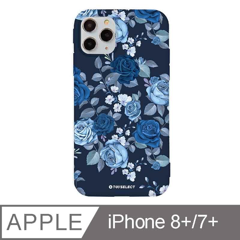 iPhone 7/8 Plus 5.5吋 花言花語Flower Series設計iPhone手機殼 抑鬱藍玫瑰 深藍色