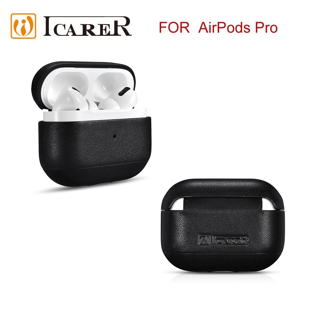 ICARER 納帕系列 AirPods Pro 手工真皮保護套-黑