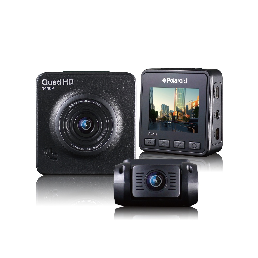 Polaroid 寶麗萊 DS203 雙鏡頭行車記錄器-內含32G卡(加送-手機架+香氛+馬卡龍擦拭巾)