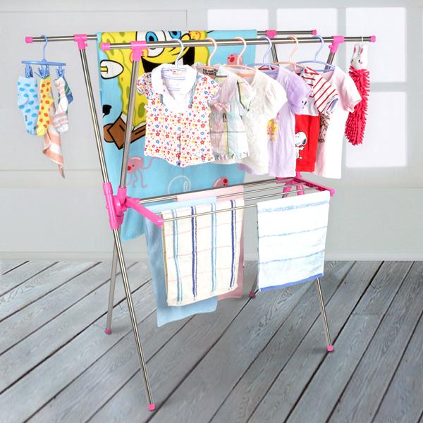 【LIFECODE】小太陽-免螺絲X型曬衣架附毛巾架(桃紅色)