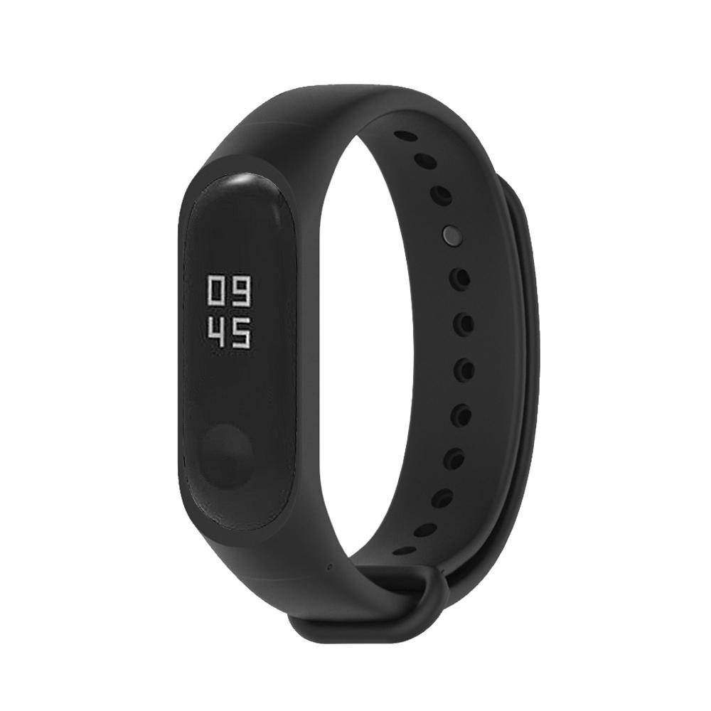 小米手環5代/4代/3代通用 矽膠運動替換錶帶-黑色