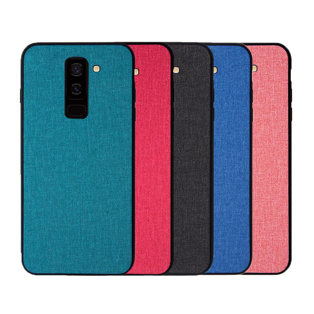QinD SAMSUNG Galaxy A6+ 布藝保護套(青藍色)