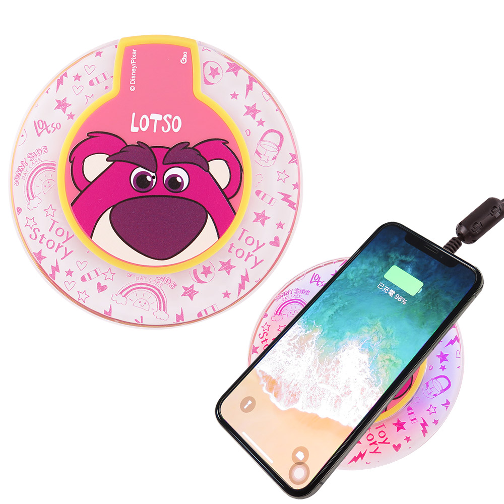Disney迪士尼 透明水晶無線充電座/充電板_大臉熊抱