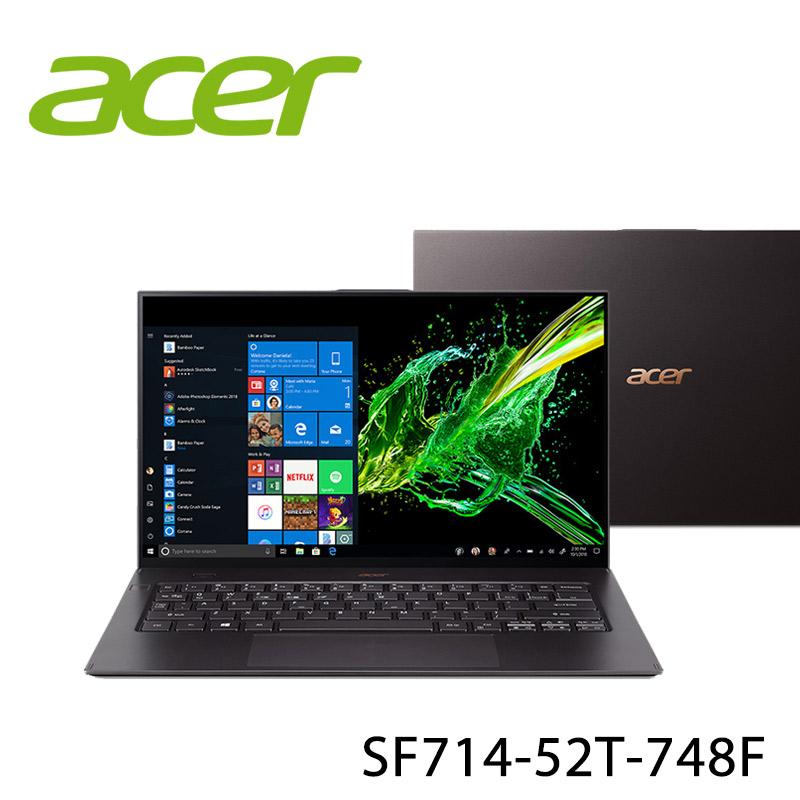 【ACER宏碁】SF714-52T-748F 黑 14吋 筆電-送acer兩用皮革桌墊+acer保溫瓶(贈品顏色款式隨機)