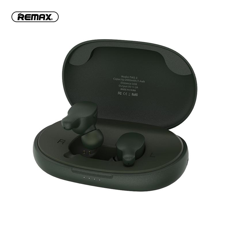 REMAX TWS-3 真無線藍牙耳機-墨綠