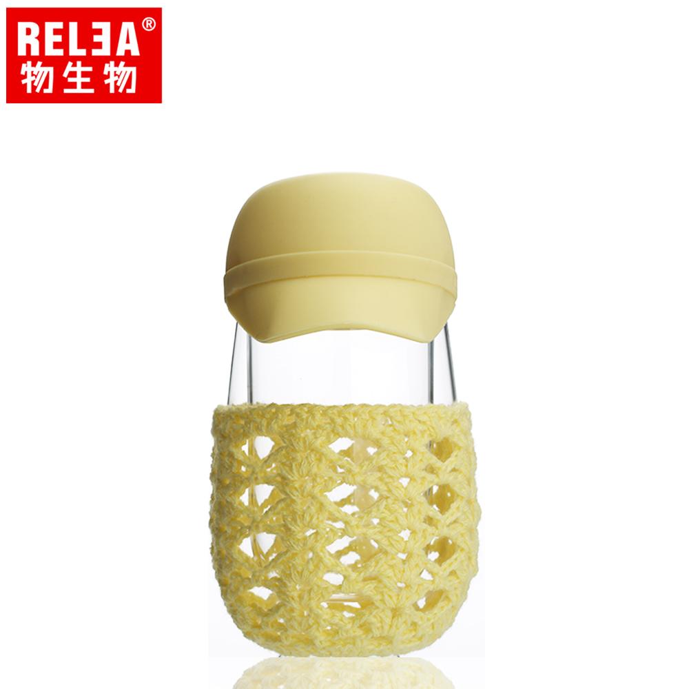 【香港RELEA物生物】創意帽子造型雙層玻璃隔熱杯(黃色棒球帽)