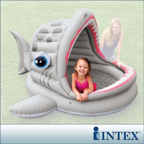 【INTEX】BABY鯊魚游泳池/遮陽戲水池(201*198cm)(121L)(57120)
