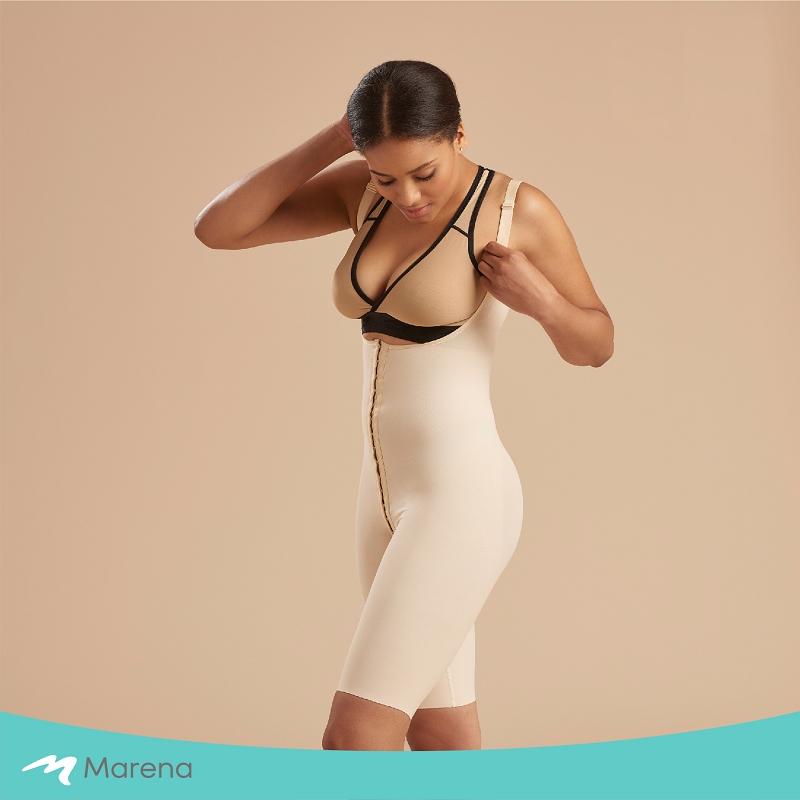 MARENA 強效完美塑形系列 護腰美背膝上型排扣式塑身衣(膚色-S)
