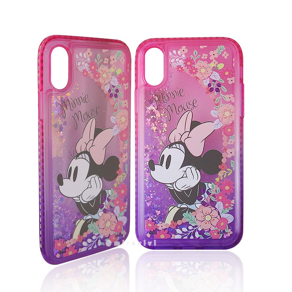 Disney迪士尼iPhone X/XS閃亮流沙水鑽漸層雙色保護殼套_花漾米妮