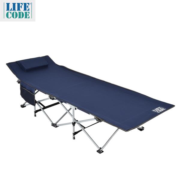 【LIFECODE】豪華折疊床(附枕頭+置物側袋)-藏青色