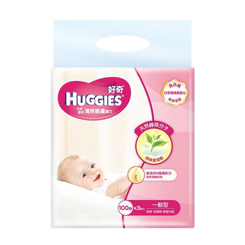 【好奇】天然綠茶清爽親膚濕巾-一般型100抽(3包x6組/箱)