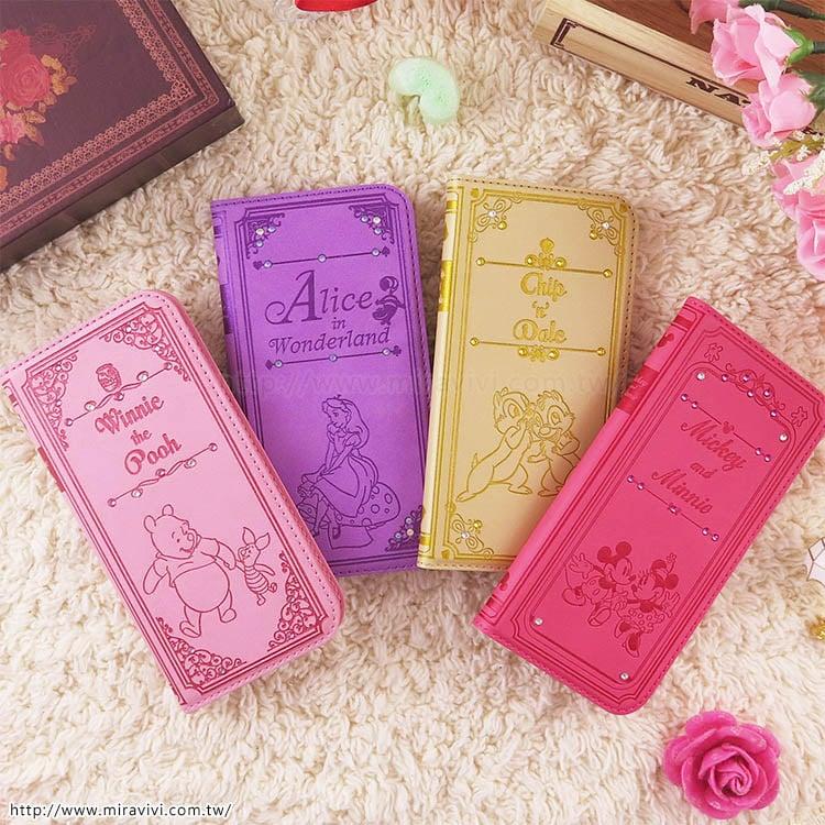 【Disney】迪士尼iPhone7施華洛世奇水鑽4.7可立式華麗時尚書本皮套-米奇米妮手牽手