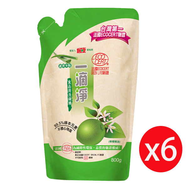 楓康一滴淨蘆薈多酚洗潔精補充包-檸檬植萃800g *6入