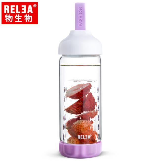 買1送1【香港RELEA物生物】500ml水果鮮飲玻璃杯(香芋紫)贈送款顏色隨機出貨
