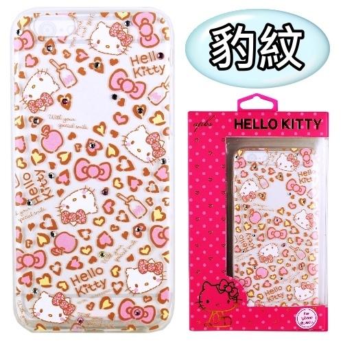 【Hello Kitty】iPhone 6S Plus /6Plus 彩鑽透明保護軟套(豹紋)